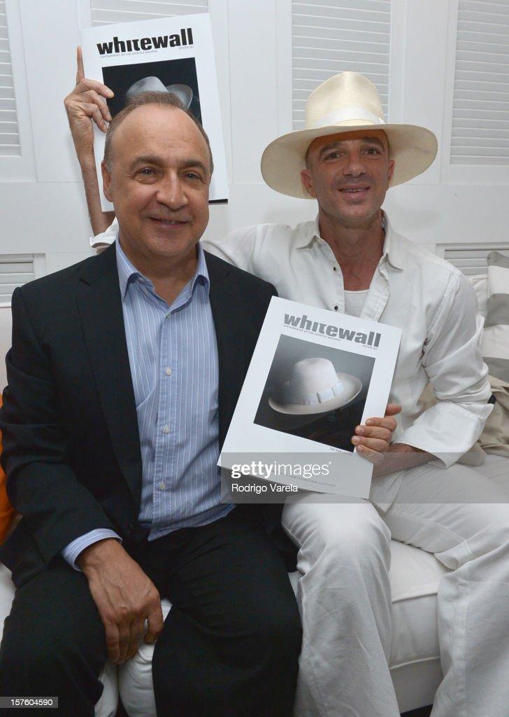 Len Blavatnik and Alan Faena attend the Whitewall Magazine Party At Delano Beach Club at Delano Beach Club on December 4, 2012 in Miami Beach, Florida.