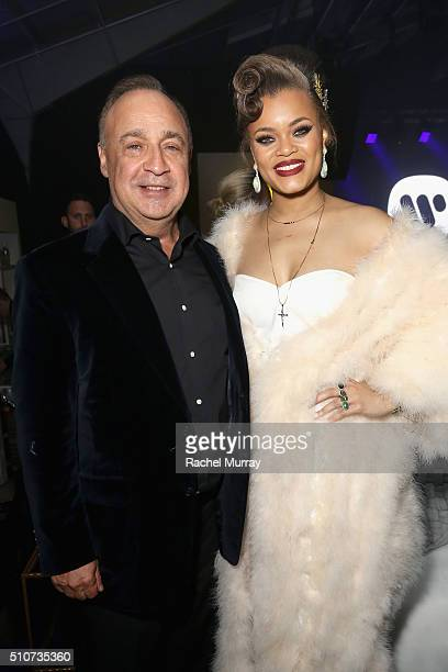 Len Blavatnik Chairman of Access Indsutries and owner of Warner Music Group with Grammy Nominee Andra Day attend Warner Music Group's annual Grammy...