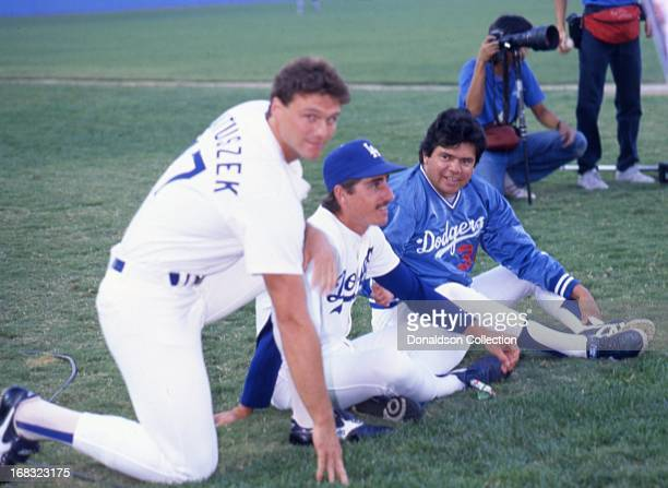Len Matuszek and Fernando Valenzuela of the Los Angeles Dodgers poses for a portrait on the field at Dodgers Stadium in 1986 in Los Angeles California