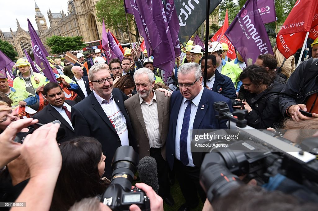Len McCluskey (L), Jeremy Corbyn (C) and Brendan Barber (R) meet hundreds of demonstrators from steel industry unions during a protest march over what they call the Government's failure to deal with the crisis in their industry, in London, United Kingdom on May 25, 2016.