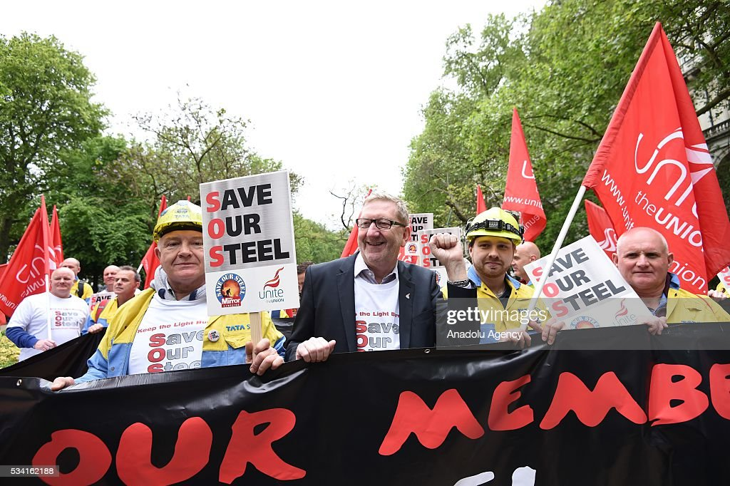 Len McCluskey (C) meets hundreds of demonstrators from steel industry unions during a protest march over what they call the Government's failure to deal with the crisis in their industry, in London, United Kingdom on May 25, 2016.