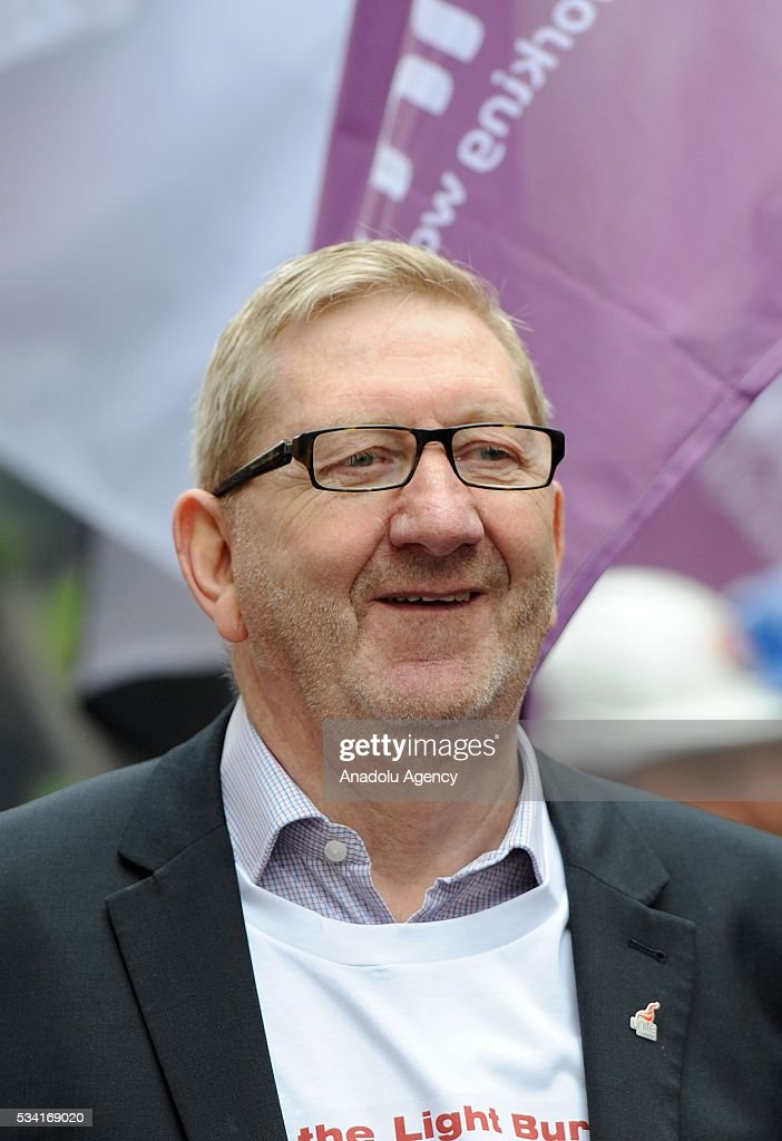 Len McCluskey meets hundreds of demonstrators from steel industry unions during a protest march over what they call the Government's failure to deal with the crisis in their industry, in London, United Kingdom on May 25, 2016.