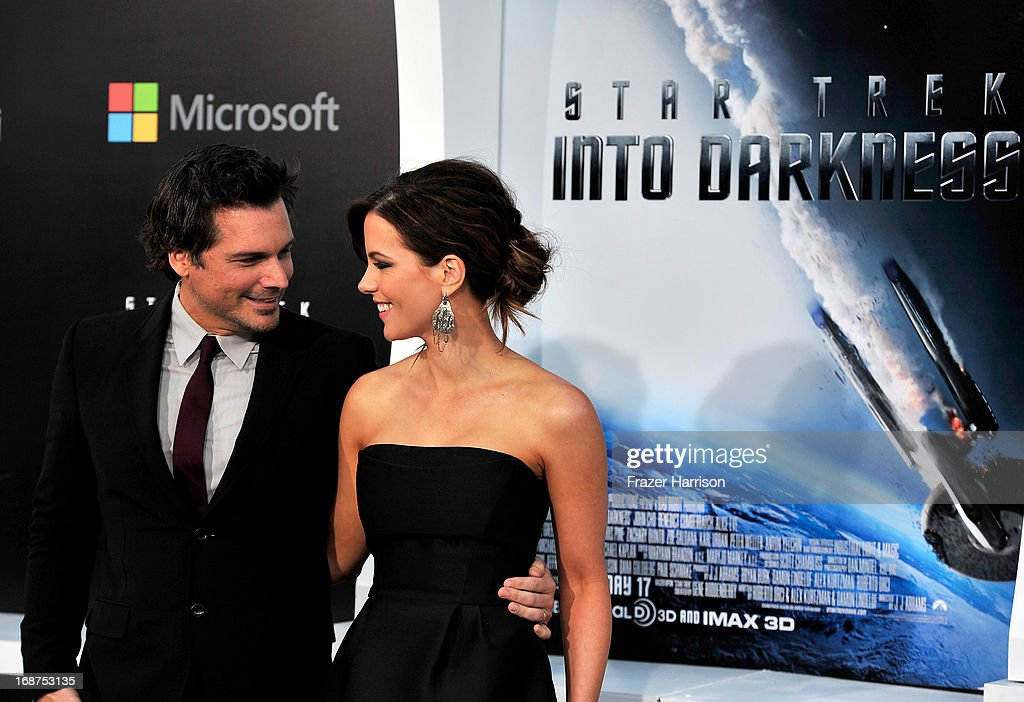 Len Wiseman (L) and actress Kate Beckinsale arrives at the premiere of Paramount Pictures' 'Star Trek Into Darkness' at Dolby Theatre on May 14, 2013 in Hollywood, California.