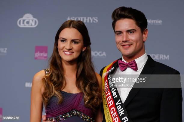 Lena Broeder and Mr Germany Dominik Bruntner attend the Gloria Deutscher Kosmetikpreis at Hilton Hotel on March 31 2017 in Duesseldorf Germany