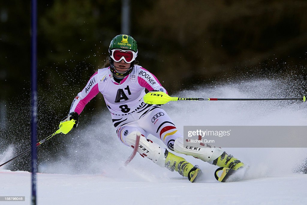 Lena Duerr of Germany races down the course whilst competing in the Audi FIS Alpine Ski World Cup Slalom Race on December 29, 2012 in Semmering, Austria.