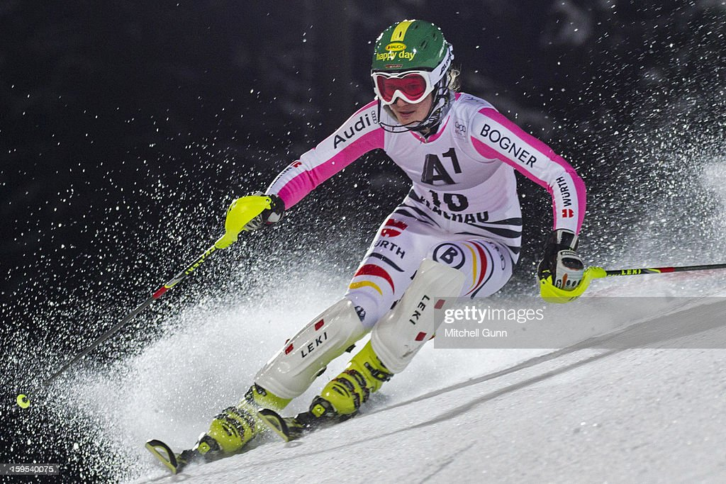 Lena Duerr of Germany races down the course whilst competing in the Audi FIS Alpine Ski World Cup Slalom race on January 15, 2013 in Flachau, Austria.