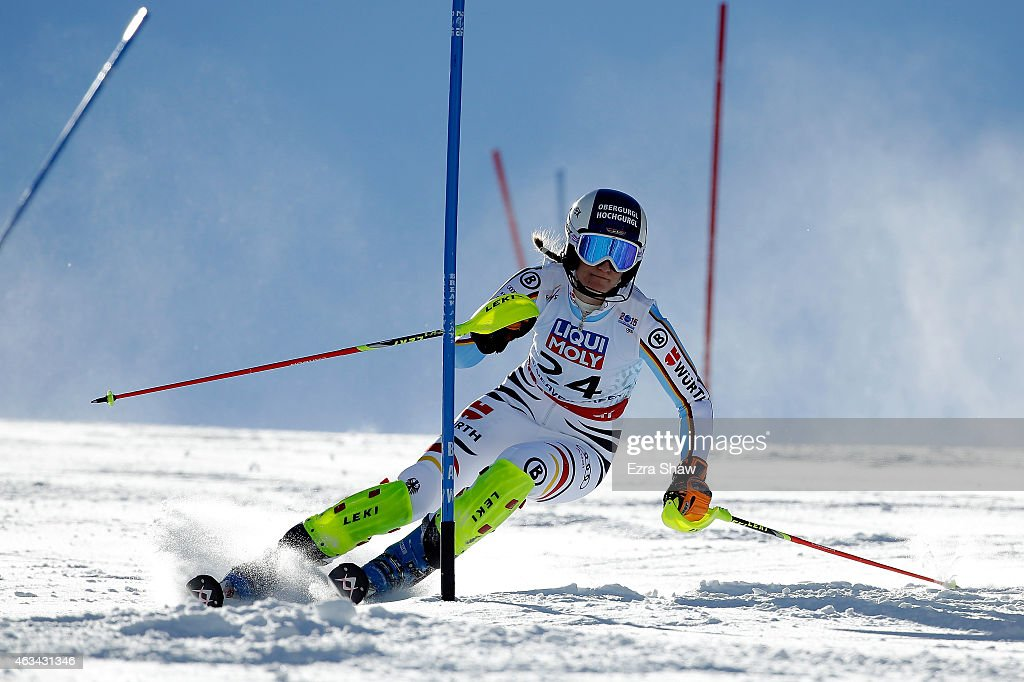 <a gi-track='captionPersonalityLinkClicked' href=/galleries/search?phrase=Lena+Duerr&family=editorial&specificpeople=6479654 ng-click='$event.stopPropagation()'>Lena Duerr</a> of Germany races during the Ladies' Slalom on the Golden Eagle racecourse on Day 13 of the 2015 FIS Alpine World Ski Championships on February 14, 2015 in Beaver Creek, Colorado.
