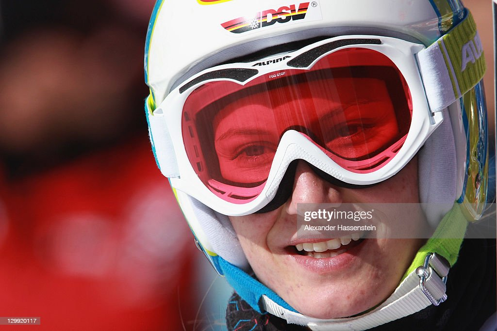 <a gi-track='captionPersonalityLinkClicked' href=/galleries/search?phrase=Lena+Duerr&family=editorial&specificpeople=6479654 ng-click='$event.stopPropagation()'>Lena Duerr</a> of Germany reacts after her second run at the women's giant slalom event of the Woman's Alpine Skiing FIS World Cup at the Rettenbachgletscher on October 22, 2011 in Soelden, Austria.