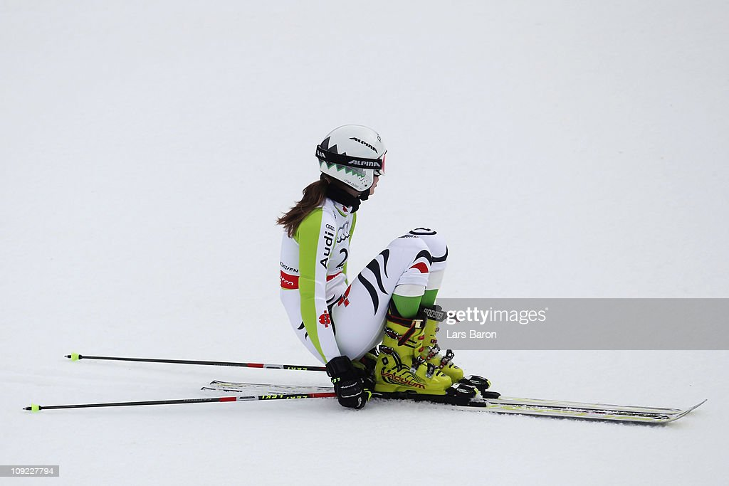 <a gi-track='captionPersonalityLinkClicked' href=/galleries/search?phrase=Lena+Duerr&family=editorial&specificpeople=6479654 ng-click='$event.stopPropagation()'>Lena Duerr</a> of Germany reacts in the finish area after skiing in the Women's Giant Slalom during the Alpine FIS Ski World Championships on the Kandahar course on February 17, 2011 in Garmisch-Partenkirchen, Germany.
