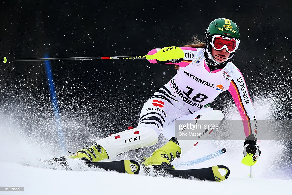 <a gi-track='captionPersonalityLinkClicked' href=/galleries/search?phrase=Lena+Duerr&family=editorial&specificpeople=6479654 ng-click='$event.stopPropagation()'>Lena Duerr</a> of Germany skis in the Women's Slalom during the Alpine FIS Ski World Championships on February 16, 2013 in Schladming, Austria.