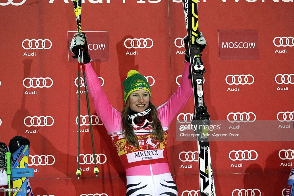 <a gi-track='captionPersonalityLinkClicked' href=/galleries/search?phrase=Lena+Duerr&family=editorial&specificpeople=6479654 ng-click='$event.stopPropagation()'>Lena Duerr</a> of Germany takes 1st place during the Audi FIS Alpine Ski World Cup Men and Women's Parallel slalom on January 29, 2013 in Moscow, Russia.