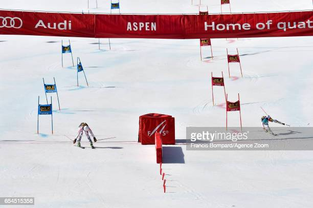 Lena Duerr of Germany Wendy Holdener of Switzerland compete during the Audi FIS Alpine Ski World Cup Finals Nation Team Event on March 17 2017 in...