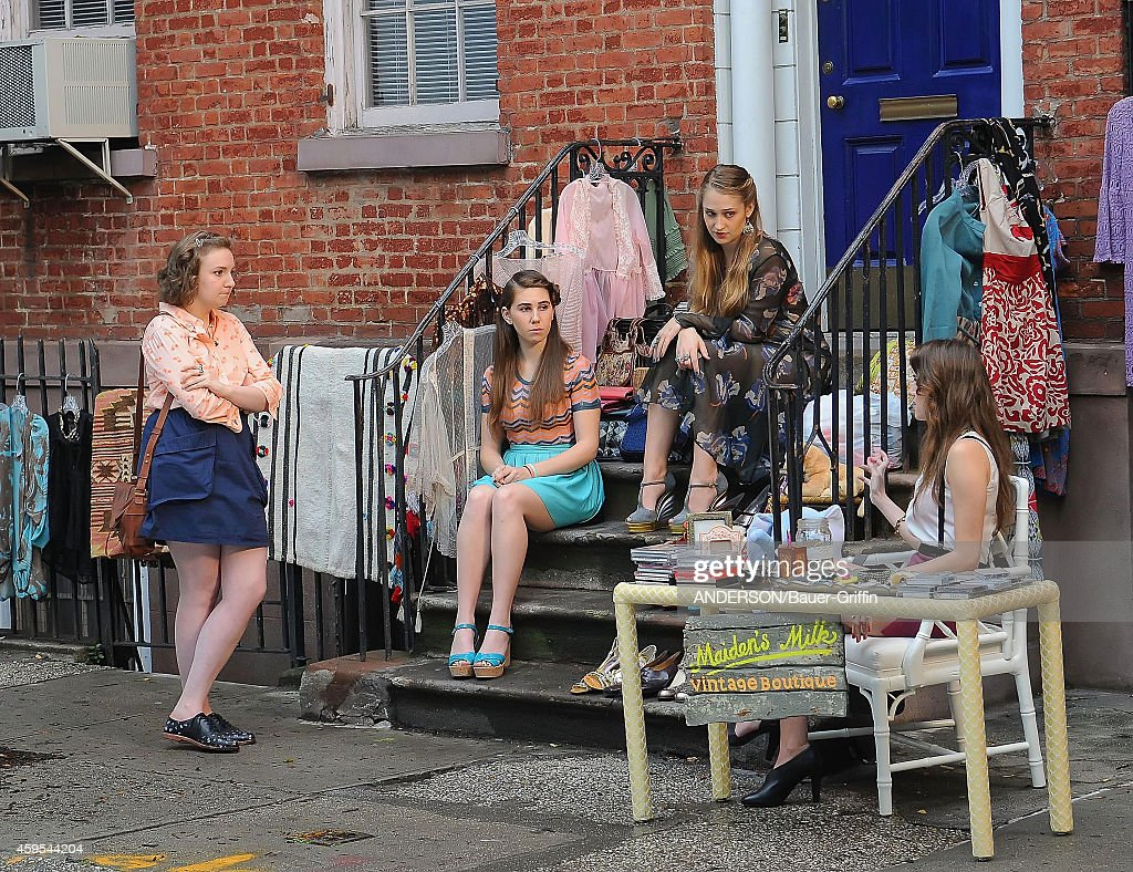 Lena Dunham Allison Williams Jemima Kirke and Zosia Mamet are seen filming the HBO series 'Girls' on May 25 2012 in New York City