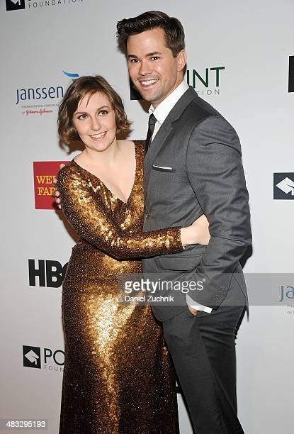 Lena Dunham and Andrew Rannells attend the 2014 Point Honors New York gala at New York Public Library on April 7 2014 in New York City