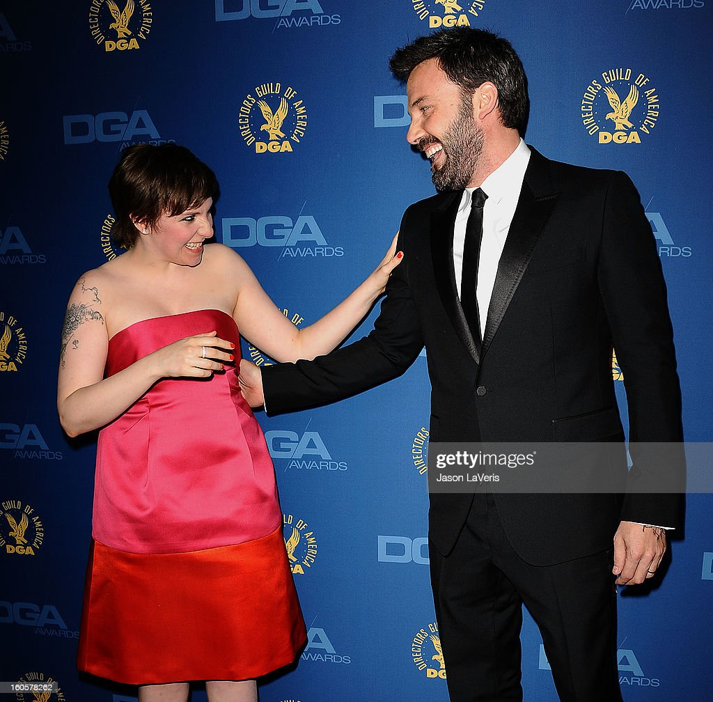 Lena Dunham and Ben Affleck attend the 65th annual Directors Guild Of America Awards at The Ray Dolby Ballroom at Hollywood & Highland Center on February 2, 2013 in Hollywood, California.