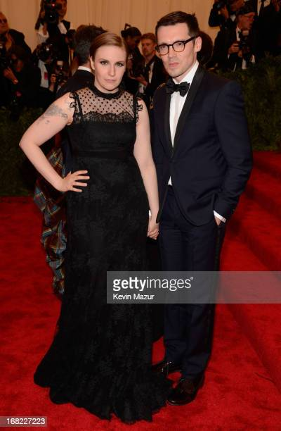 Lena Dunham and Erdem Moralioglu attends the Costume Institute Gala for the 'PUNK Chaos to Couture' exhibition at the Metropolitan Museum of Art on...
