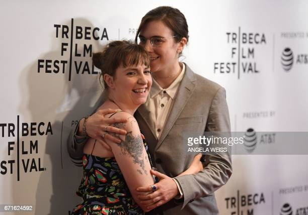 Lena Dunham and her sister Grace Dunham attend the 'My Art' premiere during 2017 Tribeca Film Festival at Cinepolis Chelsea on April 22 2017 in New...