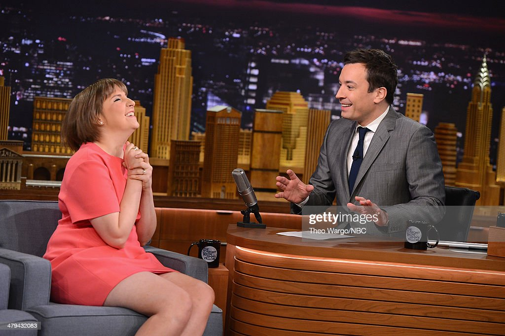 <a gi-track='captionPersonalityLinkClicked' href=/galleries/search?phrase=Lena+Dunham&family=editorial&specificpeople=5836535 ng-click='$event.stopPropagation()'>Lena Dunham</a> and Jimmy Fallon during a taping of 'The Tonight Show starring Jimmy Fallon' at Rockefeller Center on March 18, 2014 in New York City.