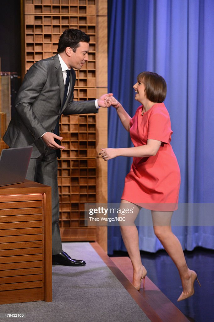 Lena Dunham and Jimmy Fallon during a taping of 'The Tonight Show starring Jimmy Fallon' at Rockefeller Center on March 18, 2014 in New York City.