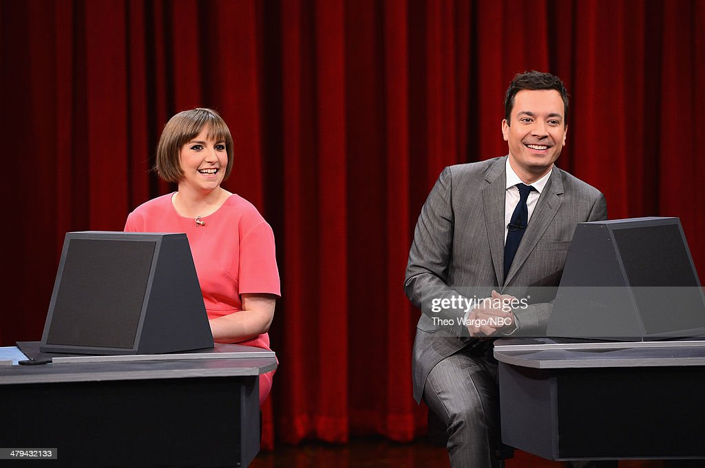 <a gi-track='captionPersonalityLinkClicked' href=/galleries/search?phrase=Lena+Dunham&family=editorial&specificpeople=5836535 ng-click='$event.stopPropagation()'>Lena Dunham</a> and Jimmy Fallon play a game of 'Pyramid' during a taping of 'The Tonight Show starring Jimmy Fallon' at Rockefeller Center on March 18, 2014 in New York City.