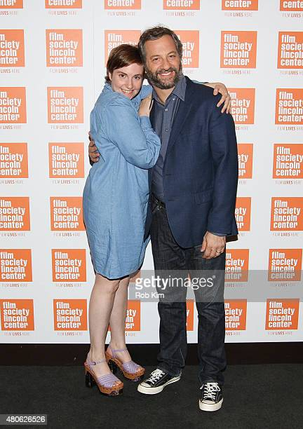 Lena Dunham and Judd Apatow attend the 2015 Film Society of Lincoln Center Summer Talks with Judd Apatow event at Walter Reade Theatre on July 13...
