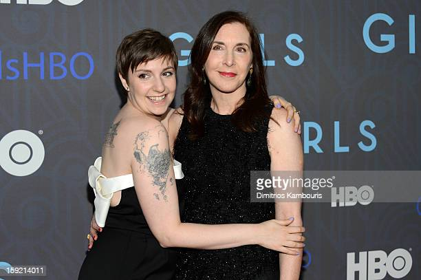 Lena Dunham and Laurie Simmons attend the Premiere Of 'Girls' Season 2 Hosted By HBO at NYU Skirball Center on January 9 2013 in New York City
