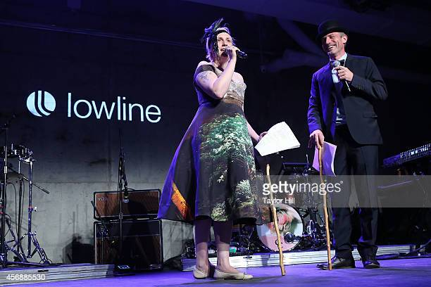 Lena Dunham and Spike Jonze perform at the 2014 The Lowline AntiGala Benefit Dinner at Skylight Modern on October 8 2014 in New York City