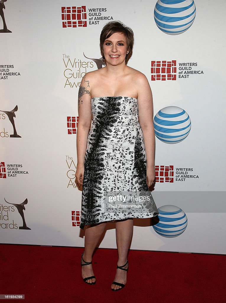 <a gi-track='captionPersonalityLinkClicked' href=/galleries/search?phrase=Lena+Dunham&family=editorial&specificpeople=5836535 ng-click='$event.stopPropagation()'>Lena Dunham</a> attends 65th Annual Writers Guild East Coast Awards at B.B. King Blues Club & Grill on February 17, 2013 in New York City.