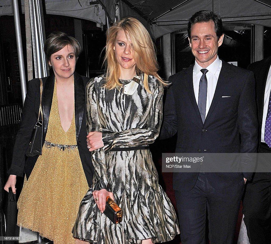 Lena Dunham, Claire Danes and Hugh Dancy as seen on April 23, 2013 in New York City.
