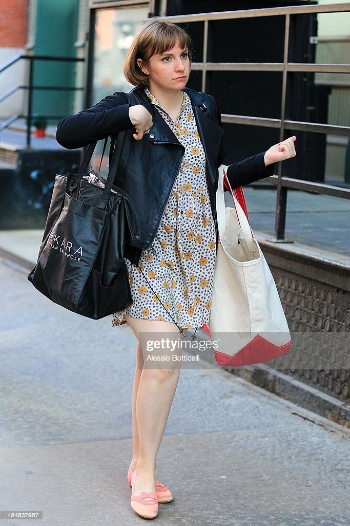 Lena Dunham is seen in TriBeCa on April 14, 2014 in New York City.