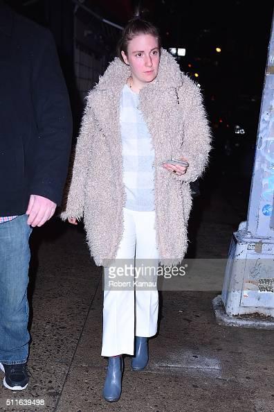 Lena Dunham leaves Blue Ribbon Brasserie restaurant after dinner with Taylor Swift in SoHo on February 21 2016 in New York City
