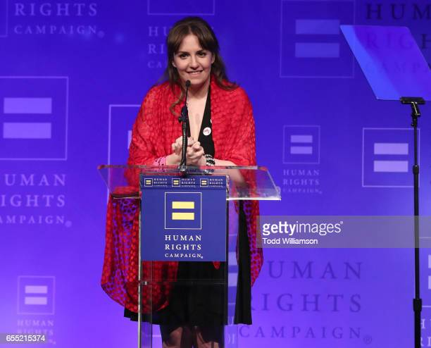 Lena Dunham speaks onstage at the Human Rights Campaign's 2017 Los Angeles Gala Dinner at JW Marriott Los Angeles at LA LIVE on March 18 2017 in Los...