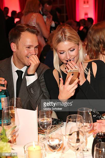 Lena Gercke and her manager Timothy Baines lauph during the Gala Spa Awards on April 2 2016 in BadenBaden Germany