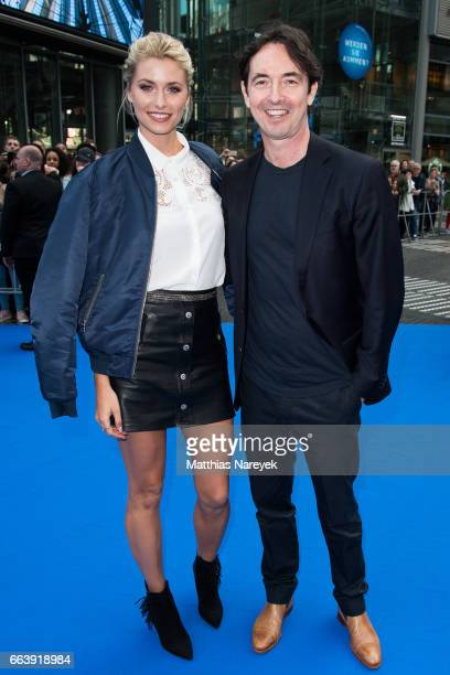Lena Gercke and Martin Bachmann attend the 'Die Schluempfe Das verlorene Dorf' Berlin Premiere at Sony Centre on April 2 2017 in Berlin Germany