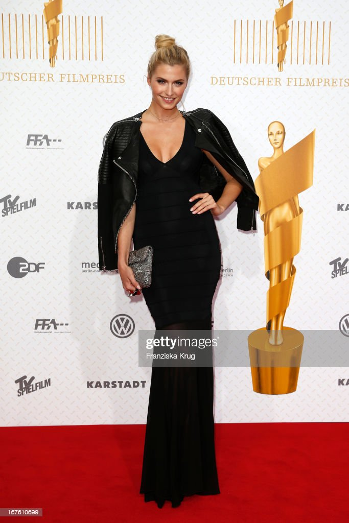 <a gi-track='captionPersonalityLinkClicked' href=/galleries/search?phrase=Lena+Gercke&family=editorial&specificpeople=579958 ng-click='$event.stopPropagation()'>Lena Gercke</a> attends the Lola German Film Award 2013 at Friedrichstadt-Palast on April 26, 2013 in Berlin, Germany.