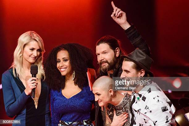 Lena Gercke Mary Summer Rea Garvey Denise Beiler and Tobias Vorwerk are seen on stage during the 'The Voice Of Germany Semi Final' on December 10...
