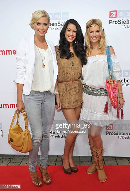 Lena Gercke Rebecca Mir and Monika Ivancan attend the ProSiebenSat 1 Summertime at Alte Kongresshalle on July 20 2011 in Munich Germany