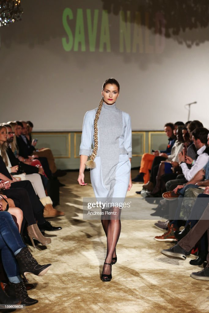<a gi-track='captionPersonalityLinkClicked' href=/galleries/search?phrase=Lena+Gercke&family=editorial&specificpeople=579958 ng-click='$event.stopPropagation()'>Lena Gercke</a> walks the runway at Sava Nald Autumn/Winter 2013/14 fashion show during Mercedes-Benz Fashion Week Berlin at Hotel Adlon Kempinski on January 17, 2013 in Berlin, Germany.