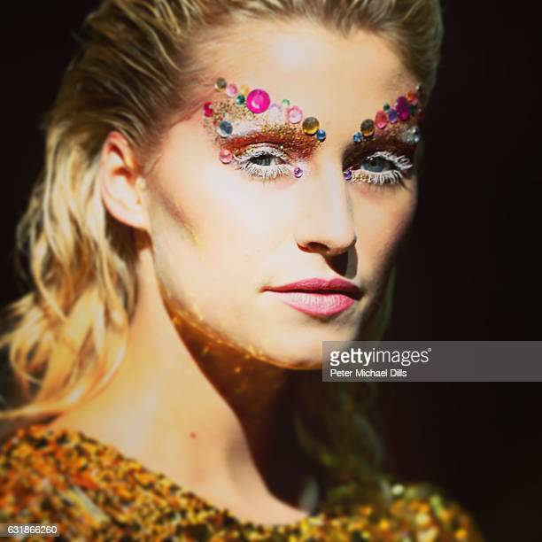 Lena Gercke walks the runway at the Maybelline Hot Trendsxhibition 2017 show during the MercedesBenz Fashion Week Berlin A/W 2017 at Motorwerk on...