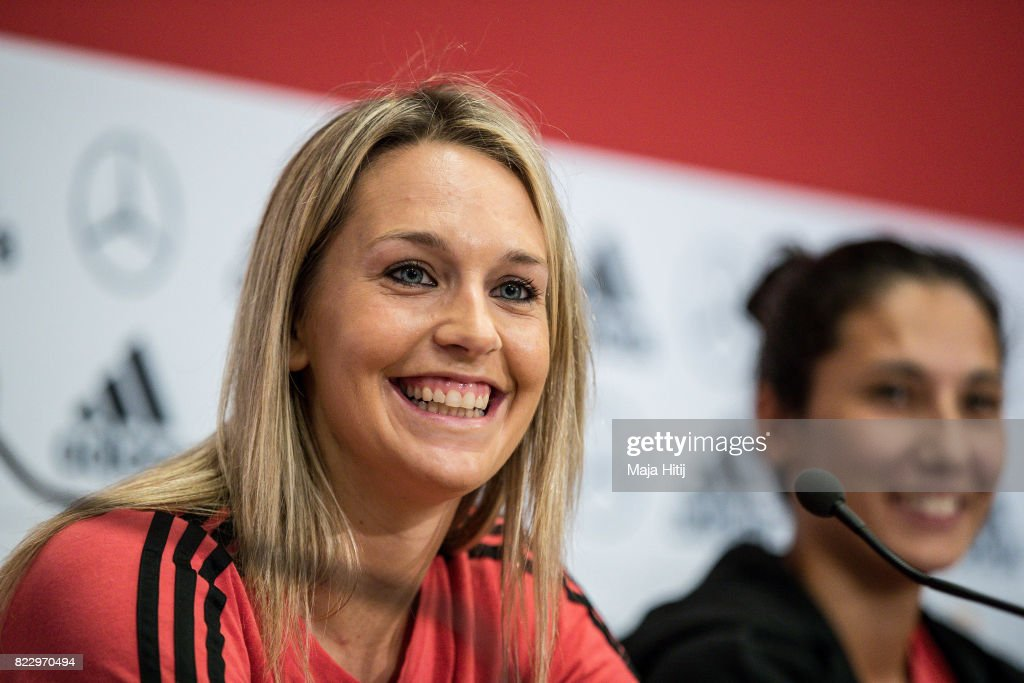'S-HERTOGENBOSCH, NETHERLANDS - JULY 26: Lena Goessling and Sara Doorsoun smile during Germany Press Conference on July 26, 2017 in 's-Hertogenbosch, Netherlands.