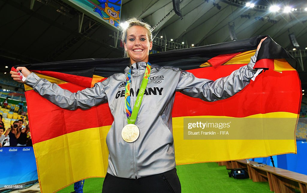 Lena Goessling of Germany celebrates after winning the Olympic Women's Football final between Sweden and Germany at Maracana Stadium on August 19, 2016 in Rio de Janeiro, Brazil.