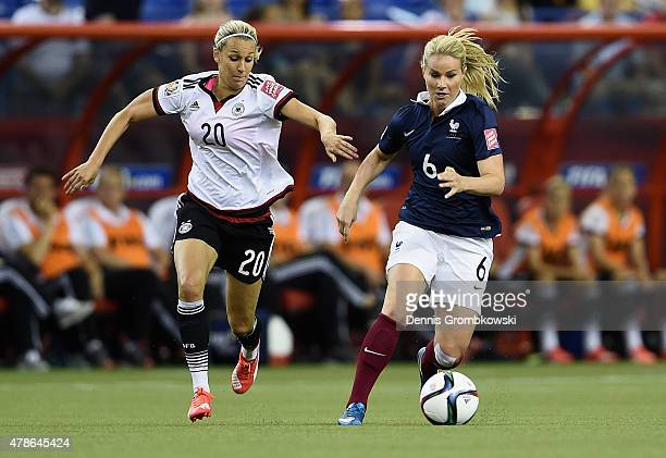 Lena Goessling of Germany chases Amandine Henry of France during the FIFA Women's World Cup Canada 2015 Quarter Final match between Germany and...