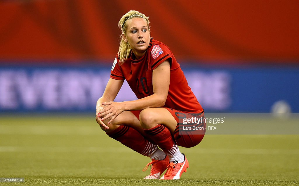Lena Goessling of Germany looks dejected after loosing the FIFA Women's World Cup 2015 Semi Final match between USA and Germany at Olympic Stadium on June 30, 2015 in Montreal, Canada.