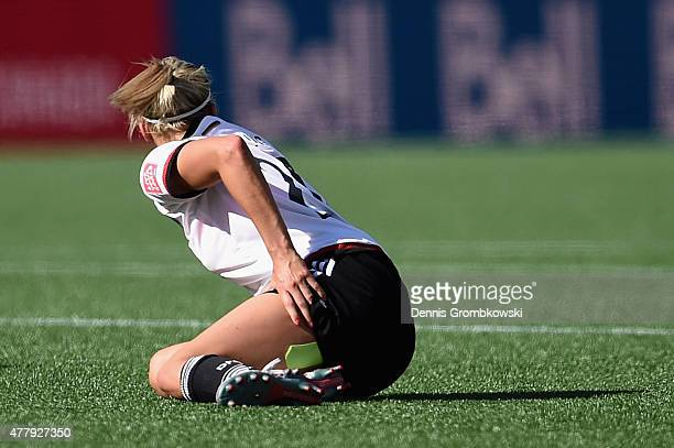 Lena Goessling of Germany reacts after suffering turf burn during the FIFA Women's World Cup Canada 2015 Round of 16 match between Germany and Sweden...