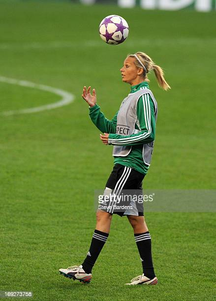 Lena Goessling of VfL Wolfsburg in action during a training session ahead of the UEFA Women's Champions League Final at Stamford Bridge on May 22...