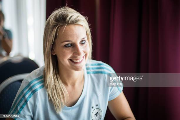 Lena Goessling smiles during a interview at Germany Women's National Soccer Team Media Day on July 5 2017 in Heidelberg Germany