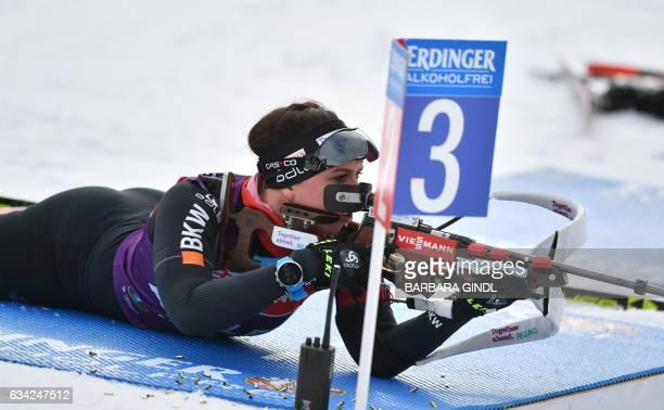 Lena Haecki of Switzerland takes part in a training session at the biathlon stadion in Hochfilzen Austria on February 8 prior to the Biathlon World...