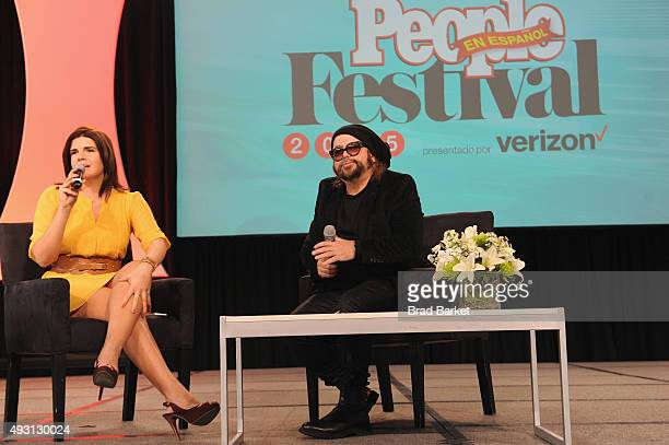 Lena Hansen Senior Writer at People en Español Magazine speaks with singer and songwriter Carlos Varela on stage at Festival PEOPLE En Espanol 2015...