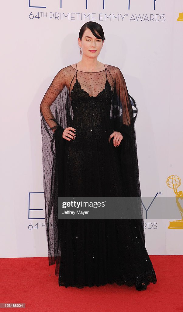 Lena Headey arrives at the 64th Primetime Emmy Awards at Nokia Theatre L.A. Live on September 23, 2012 in Los Angeles, California.