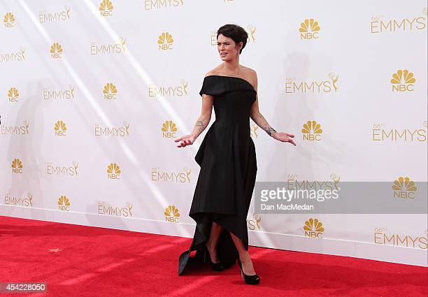 Lena Headey arrives at the 66th Annual Primetime Emmy Awards at Nokia Theatre LA Live on August 25 2014 in Los Angeles California